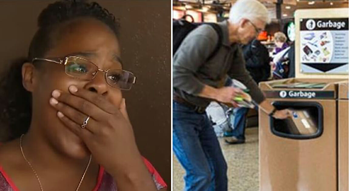 Woman sees crying man forced to throw gift in airport trash