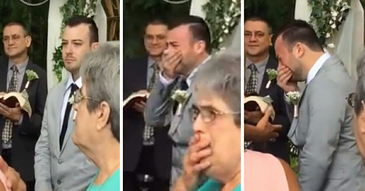 Nervous Groom Waits For Bride To Walk Down The Aisle